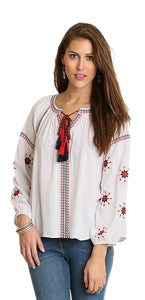 Embroidered Tassel Tie Blouse, White
