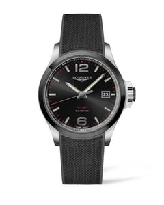 CONQUEST V.H.P. 43MM BLACK DIAL RUBBER STRAP