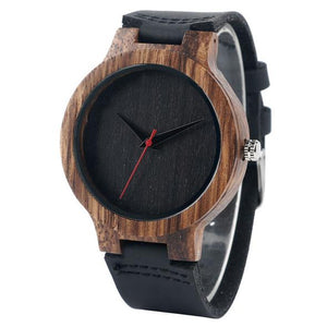 Wood Watch with Decorative Wooden Faces and Soft Leather Straps