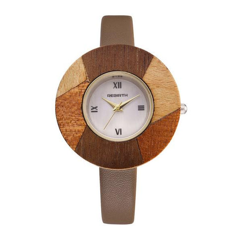 Ladies Luxury Wooden watch with a genuine Leather Strap