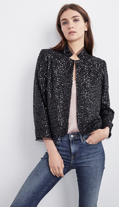 VELVET RAZI SEQUINS MOCK NECK JACKET