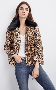 VELVET WINDY FAUX FUR LEOPARD PRINT JACKET