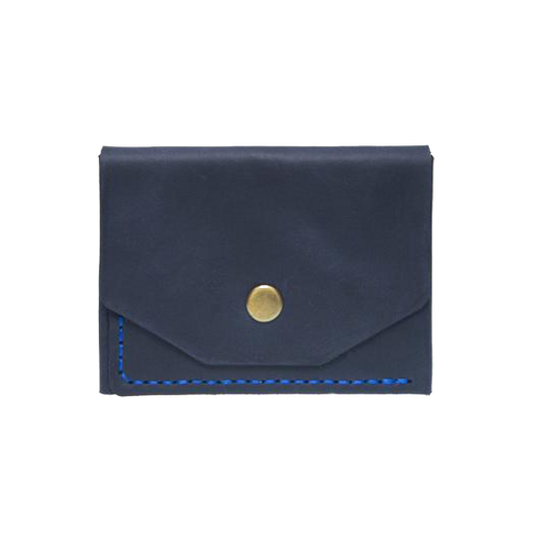 Blue Minimalistic Leather Cardholder - Cantoneri