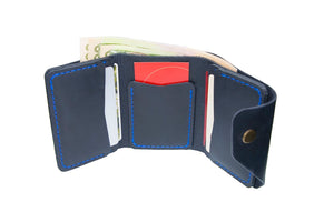 Blue Triple Leather Mini Wallet - Cantoneri