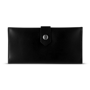 Women's Glossy Black Bifold Leather Wallet - Cantoneri