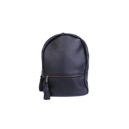 Black Leather Backpack with a Tassel - Cantoneri