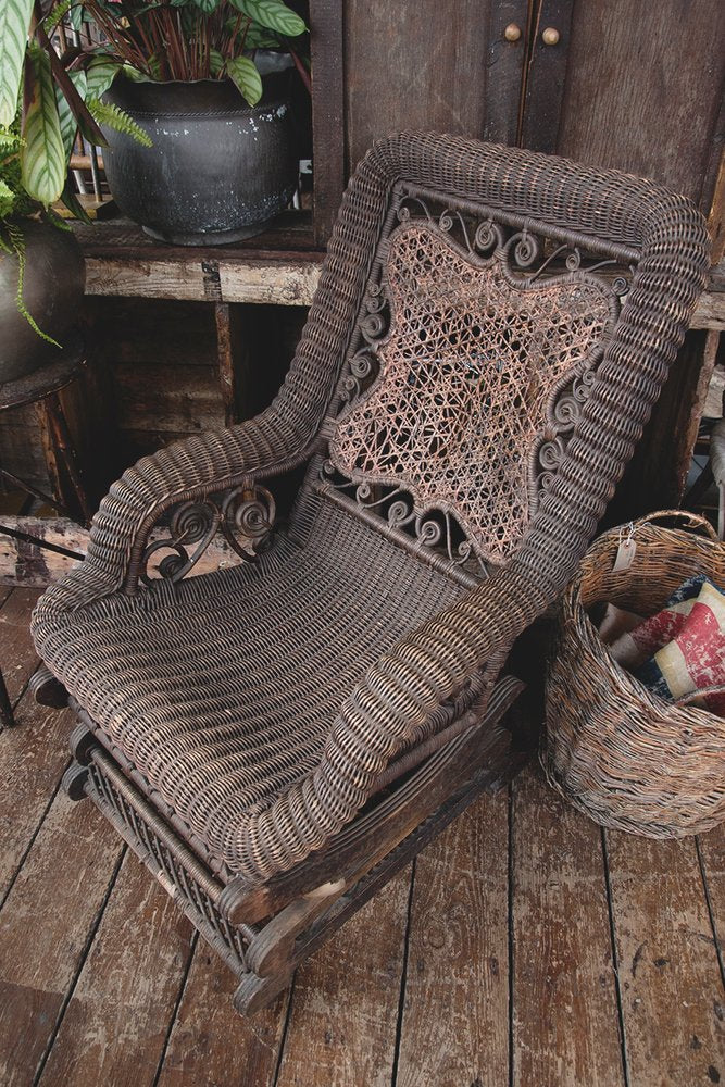 Antique American armchair, Wicker chair. American Rocker. Porch Chair. American antiques Bristol