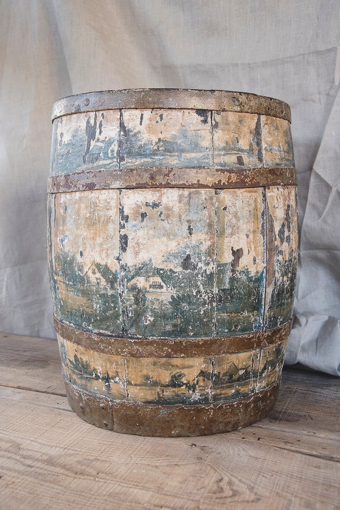 Hand painted dutch wooden antique barrel. Patina. Bristol rustic interior design