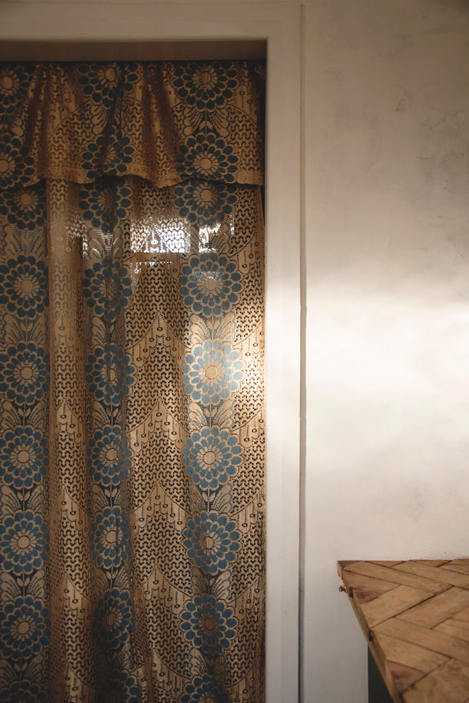 Lace curtain used in interior styling. Bristol Cassie Nicholas Studios