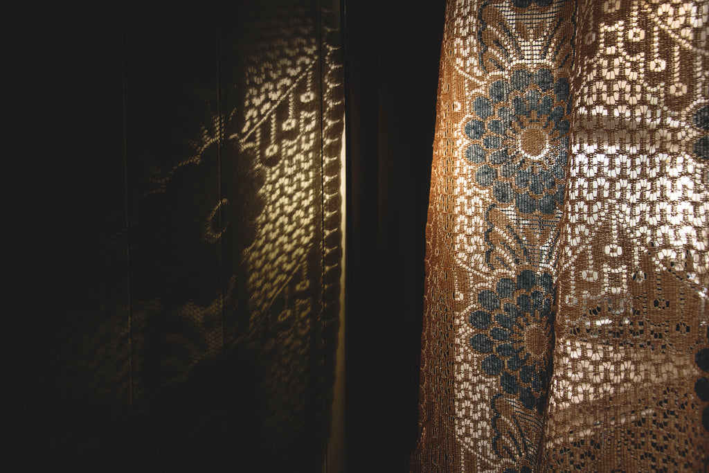 Interior styling and photography in Bristol. Vintage lace curtain