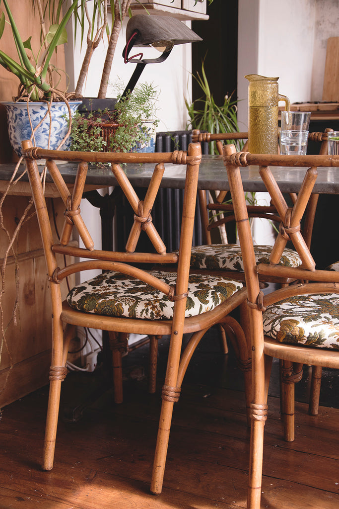 Set of four vintage bentwood dining chairs.