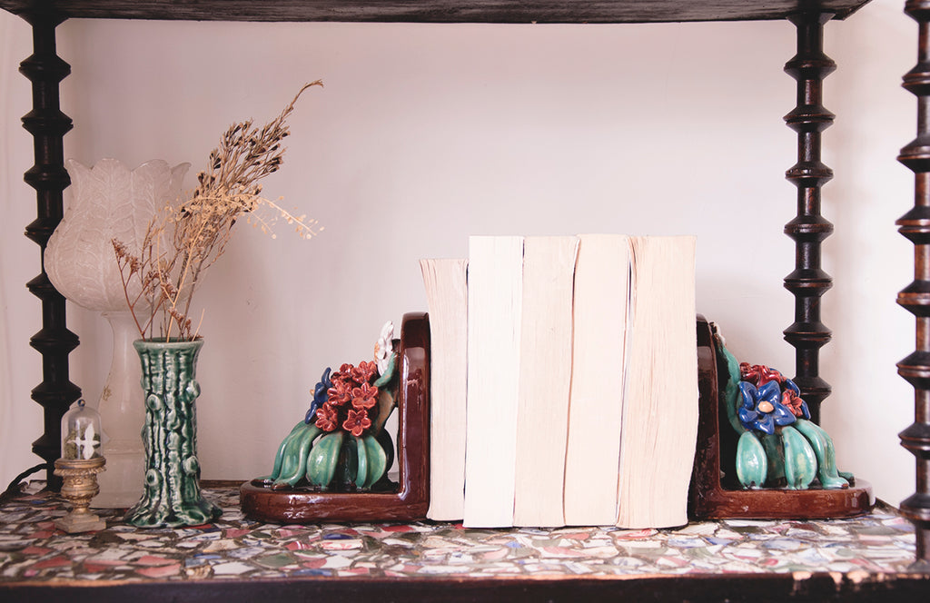 A pair of ceramic bookends