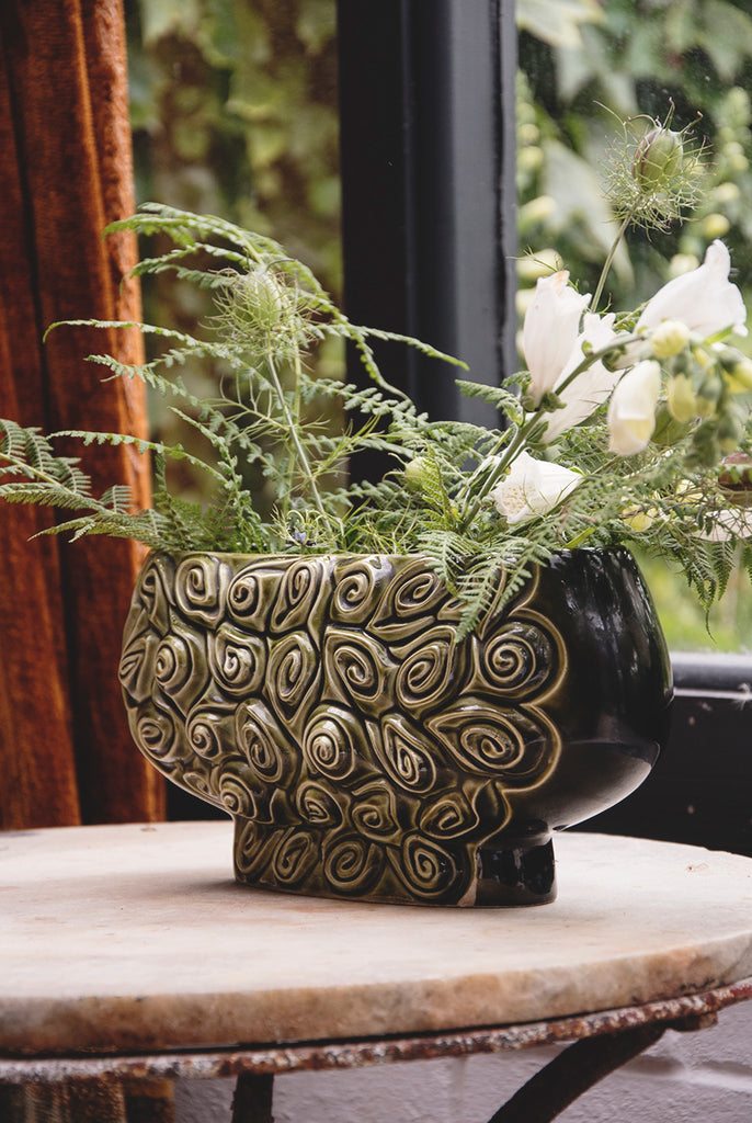 green vintage vessel, flower vase. decorative homewares. Product photography Bristol Cassie Nicholas