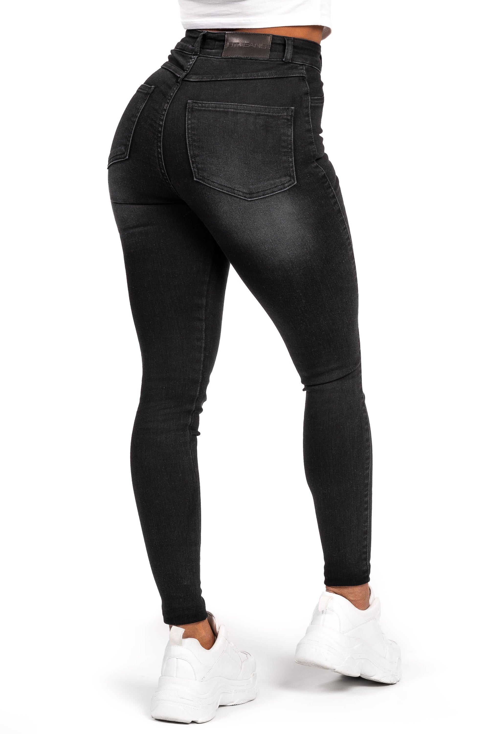 Womens Traditional High Waisted Fitjeans - Shaded Black