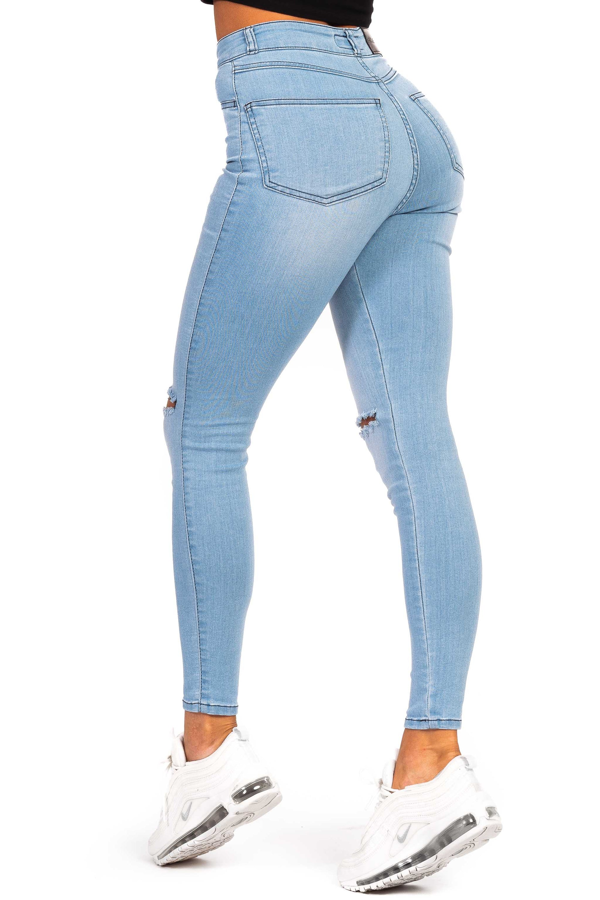 Womens Traditional Ripped High Waisted Fitjeans - Bleach Blue