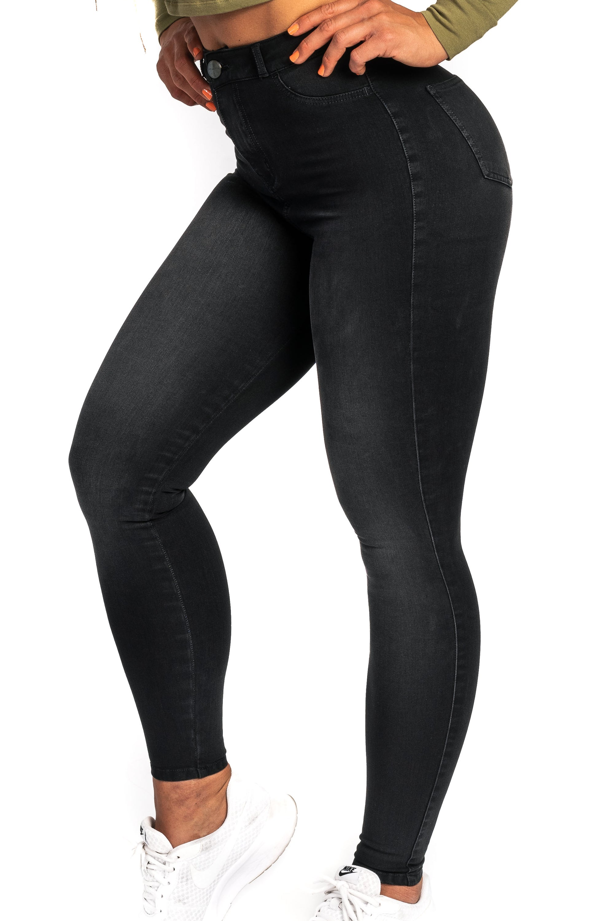 Womens 360 High Waisted Fitjeans - Shaded Black