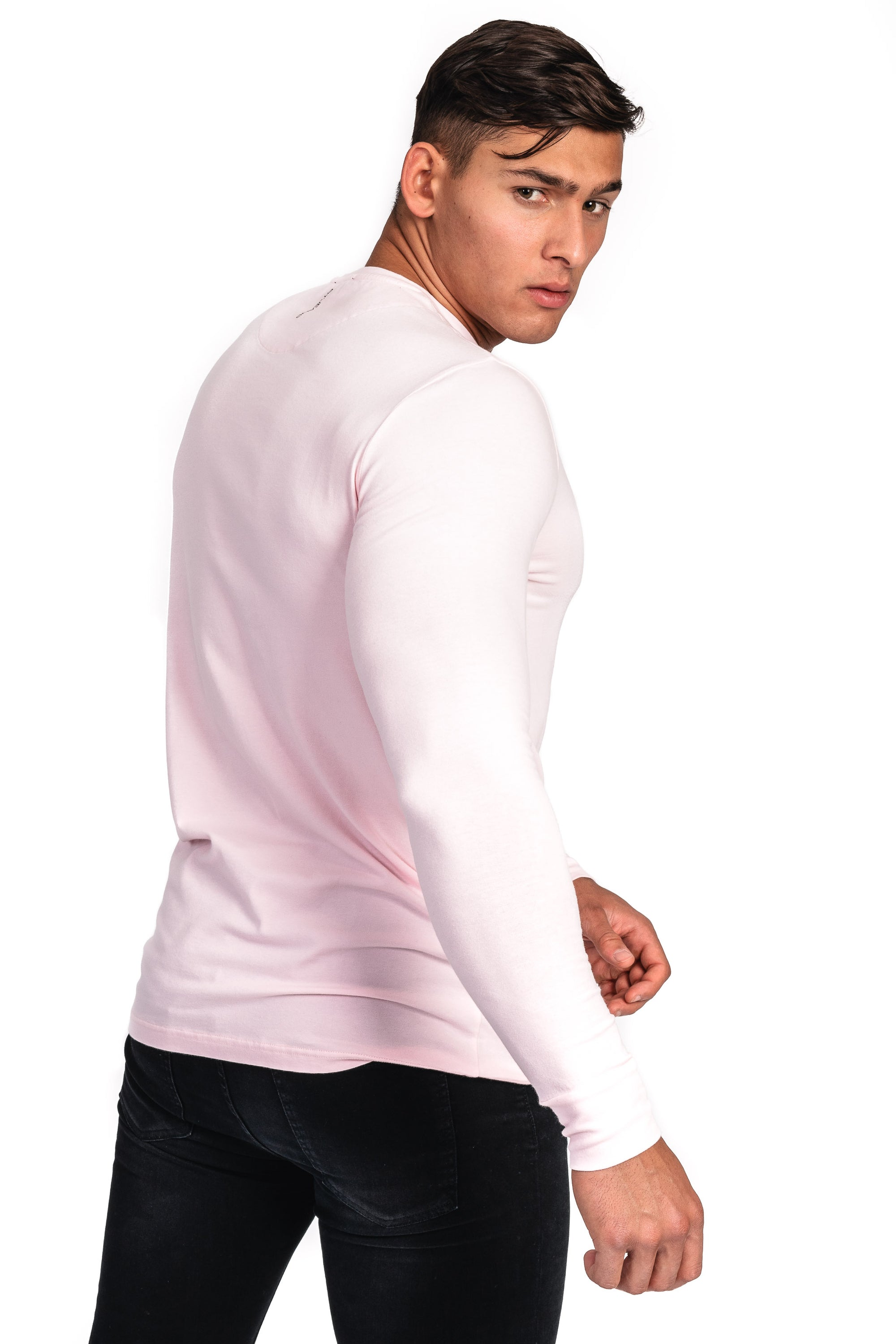 Mens Long Sleeve T Shirt - Vintage Pink