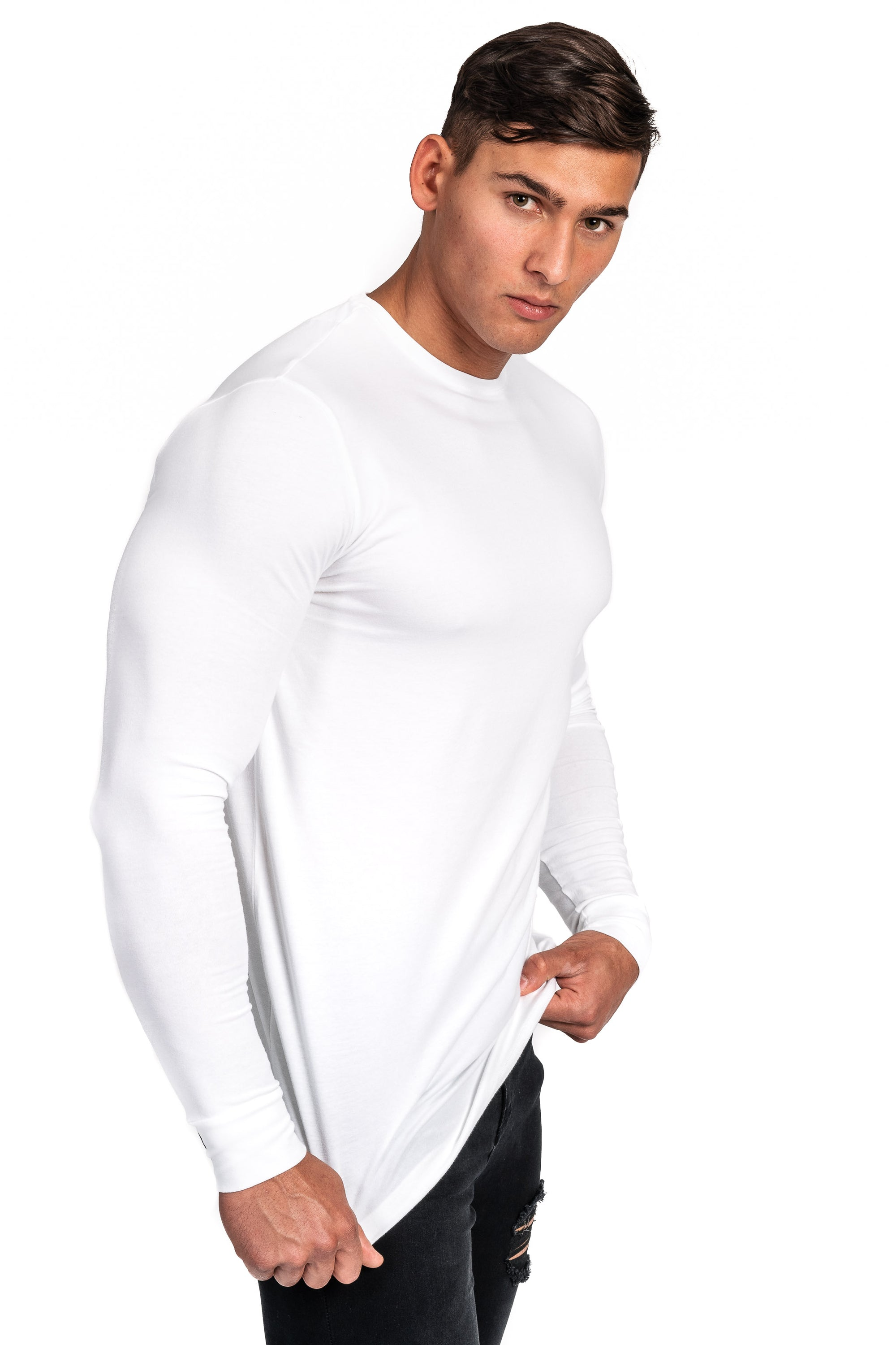 Mens Long Sleeve T Shirt - White