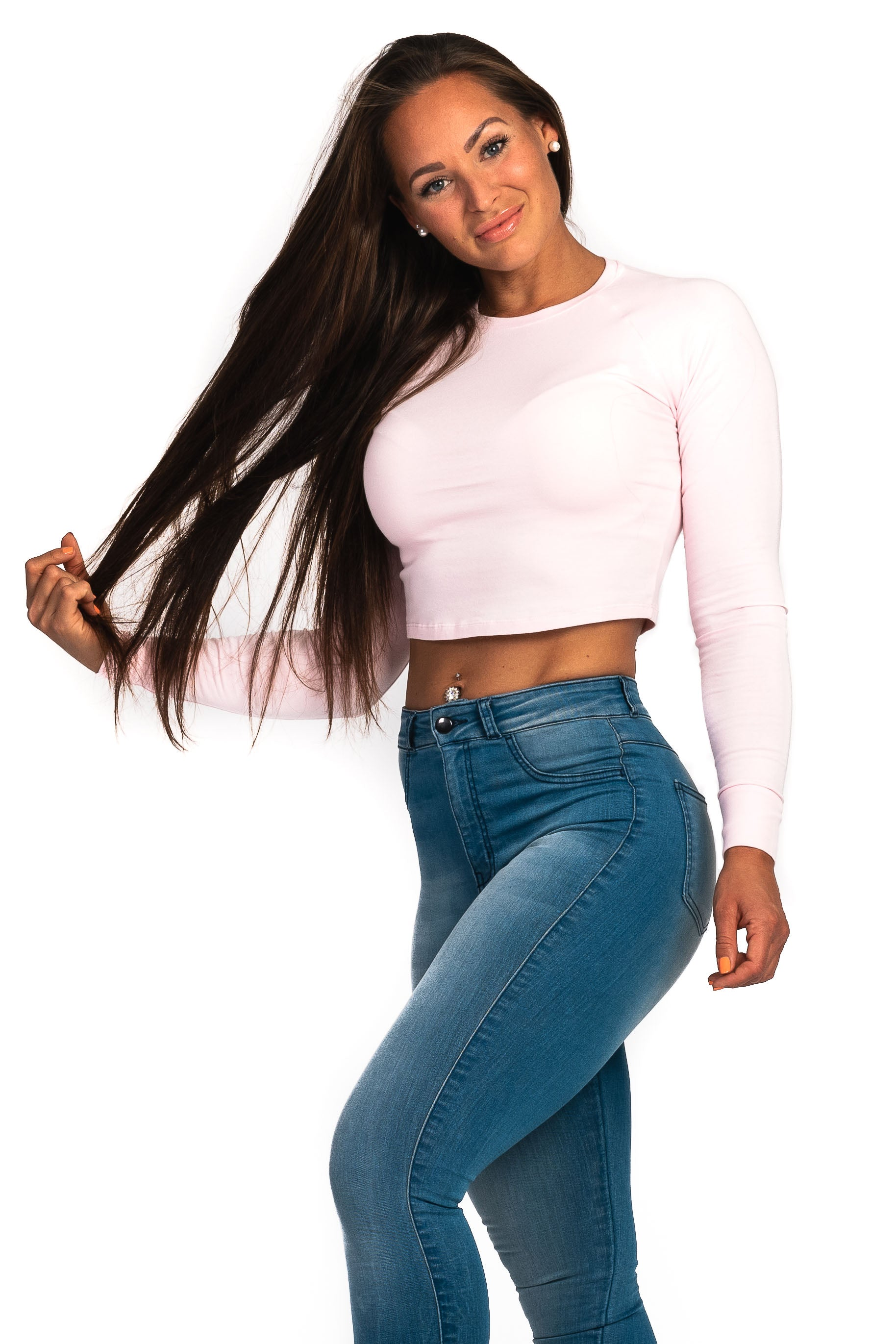 Womens Long Sleeve Crop Top - Pastel Pink