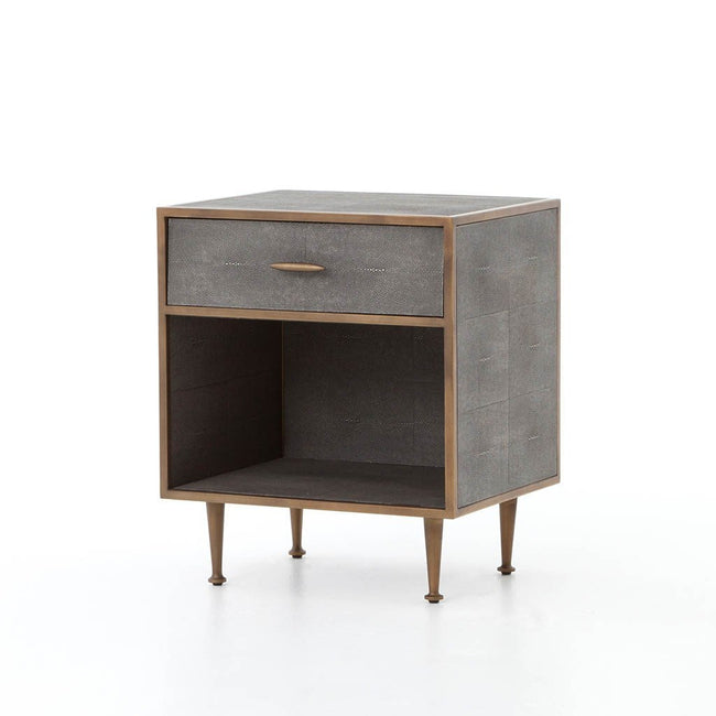 Shagreen Bedside Table - Antique Brass