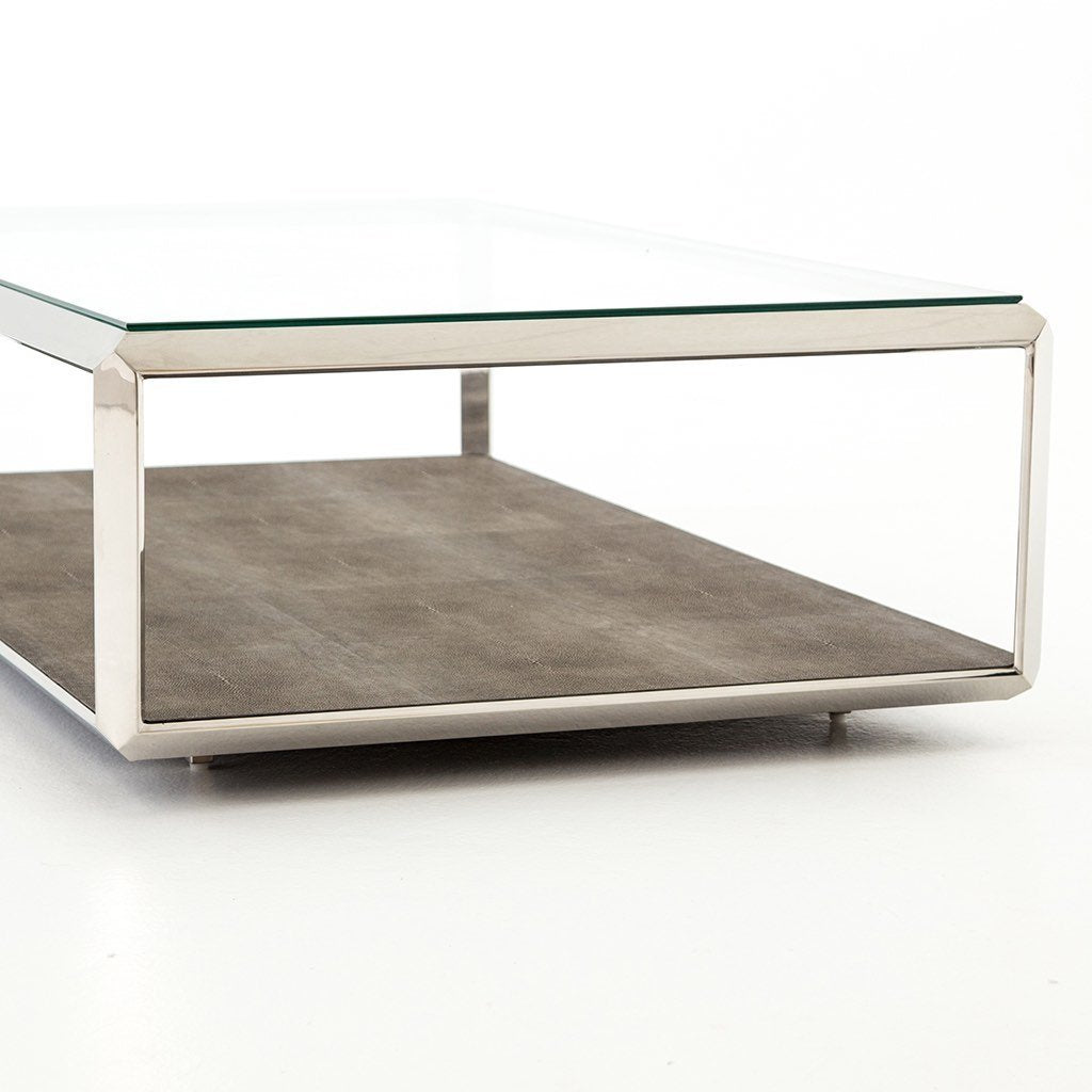Shagreen Shadow Box Coffee Table - Stainless Four Hands Furniture