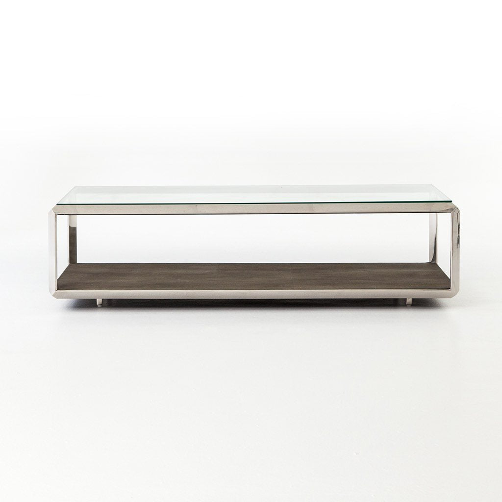 Shagreen Shadow Box Coffee Table - Stainless