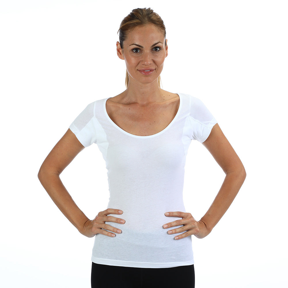Women's Lightweight Scoop Neck Undershirt With Absorbent, Sweat-Proof, Enlarged, Sewn-In, Underarm Shields Style #RSCW2