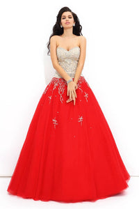 Strapless Ball Gown Sweetheart Beading Ball Gown Prom Dresses