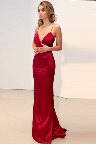 Sexy Sheath Deep V-Neck Long Satin Evening Dresses with Spaghetti Straps