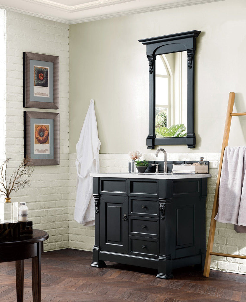 "36"" Brookfield Antique Black Single Bathroom Vanity w/Drawers, James Martin Vanities - vanitiesdepot.com"