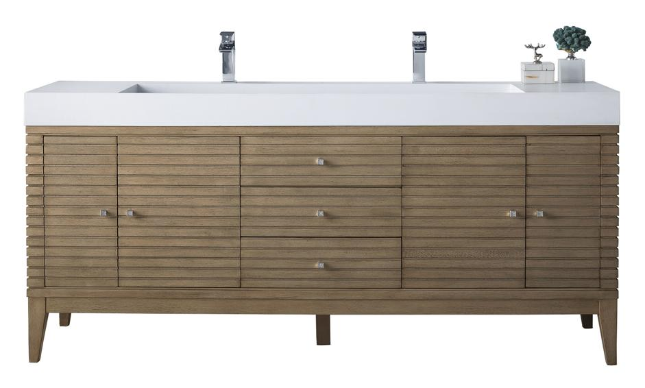 "72"" Linear Double Bathroom Vanity, Whitewashed Walnut, James Martin Vanities - vanitiesdepot.com"