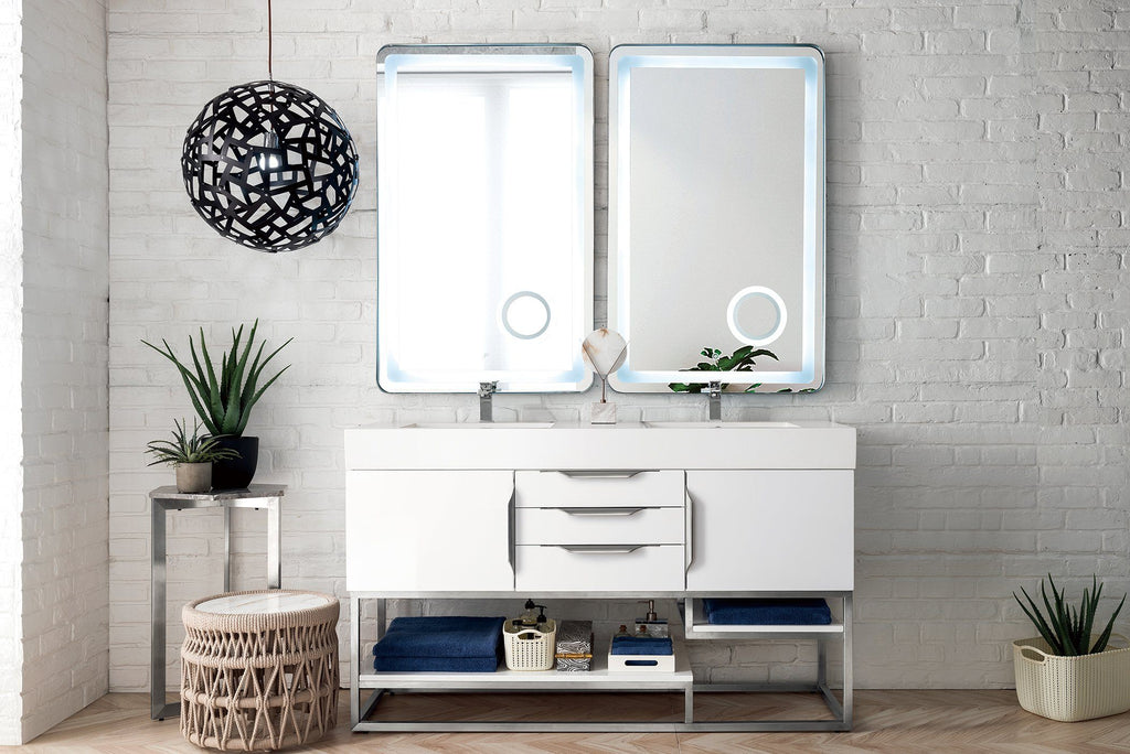 "59"" Columbia Double Bathroom Vanity, Glossy White, James Martin Vanities - vanitiesdepot.com"