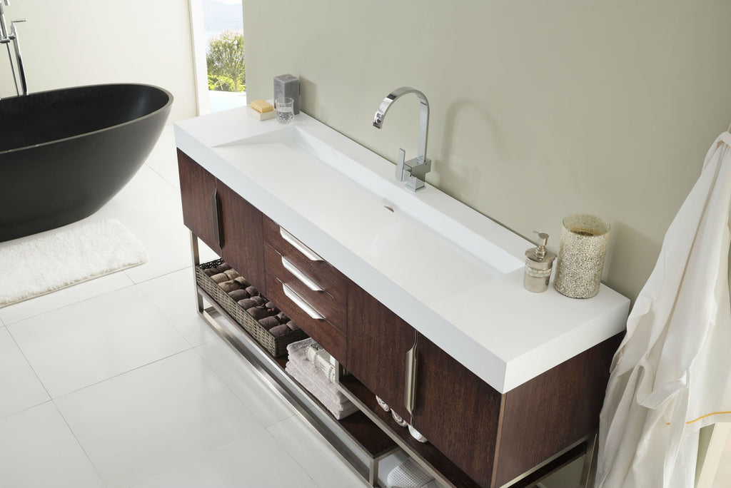"72"" Columbia Coffee Oak Single Sink Bathroom Vanity, James Martin Vanities - vanitiesdepot.com"