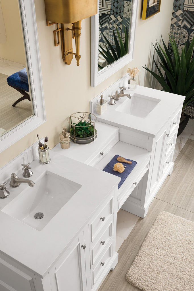"82"" De Soto Bright White Double Sink Bathroom Vanity, James Martin Vanities - vanitiesdepot.com"