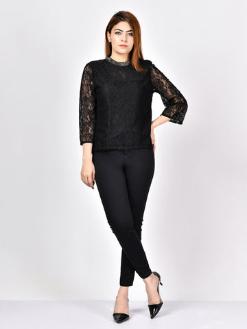 Embellished Net Top