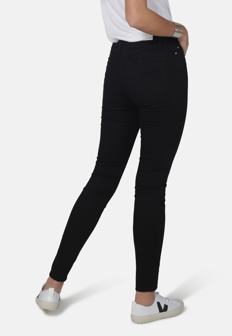 CODY // Recycled Organic Super Skinny Mid Waist Jeans in Black Jet
