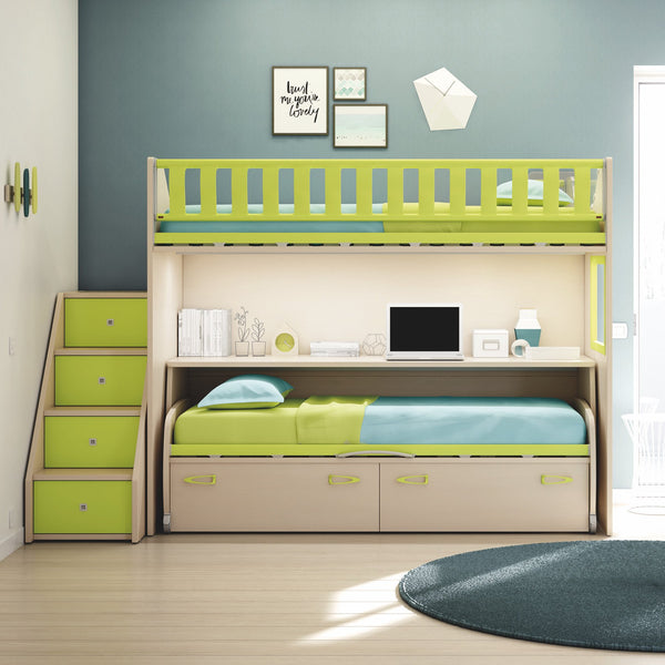 Zigzag ~ kids bunk beds with mobile study desk
