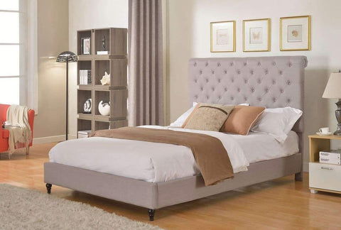 "HomeLife® 48"" Light Grey Studded Platform Bed Frame"