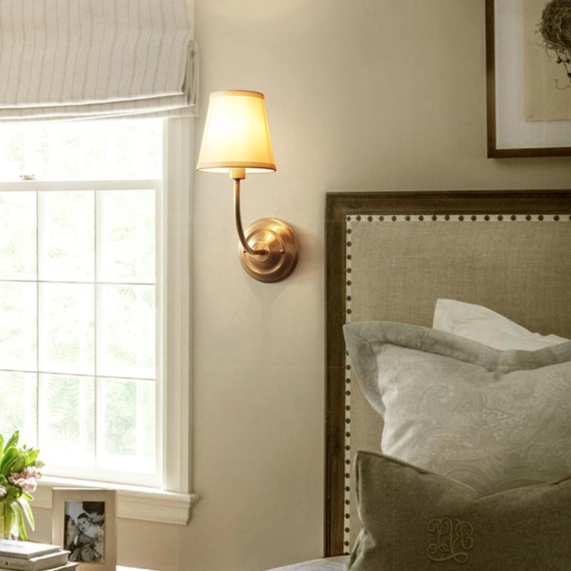 Wall Lamp Brass Finish With Shades At Bedroom