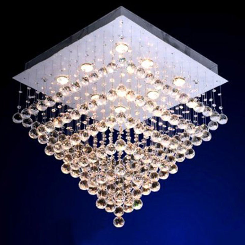 Square Seven Tiers Crystal Raindrop Chandelier - Ceiling Lights