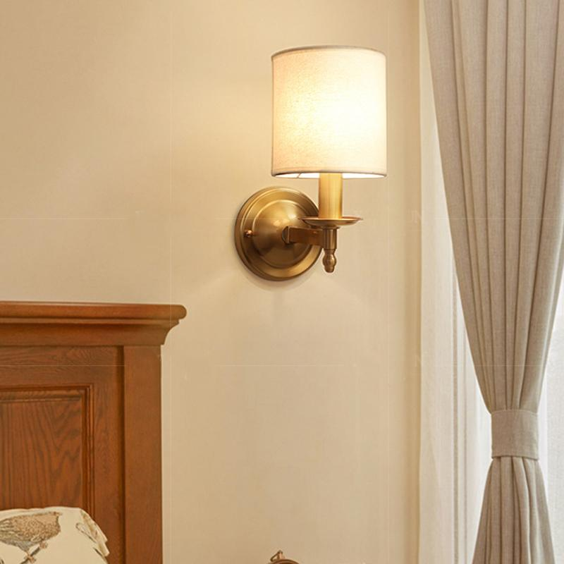 Brass Finish With Shades Wall Lamp At Bedroom