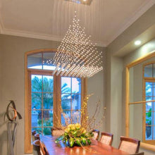 Rectangular Base Pyramid Raindrop Crystal Ceiling Lights Dining Room