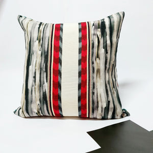 Turquoise and black chevron and striped cushions - Comme Glom