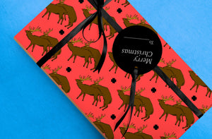 Red Faced Rudolph Wrapping Paper - Comme Glom