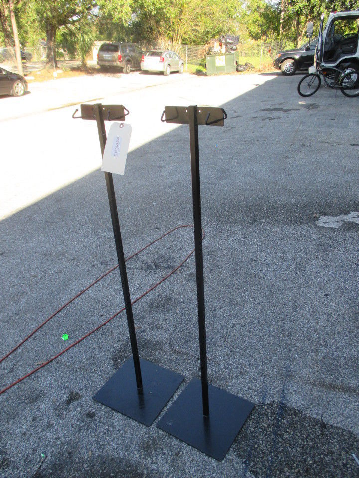 "LOT OF (2) 40"" Tatco Wet Umbrella Bag Stand Powder Coated Steel Black - Business Equipment World"
