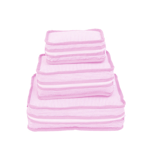 Pink Seersucker Set of 3 Packing Cube Stacking Set