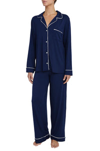 Eberjey: Gisele Long Sleeve, Pant set - Navy/Ivory