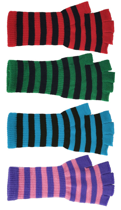 Stripe Fingerless Long Gloves - Various Colors