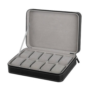 10 Grids Watch Box Leather Casket With Zipper