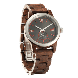 Men's Handcrafted Engraved Walnut Wood Watch